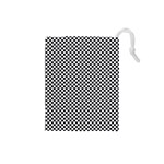 Sports Racing Chess Squares Black White Drawstring Pouches (Small)  Front