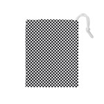 Sports Racing Chess Squares Black White Drawstring Pouches (Medium)  Front