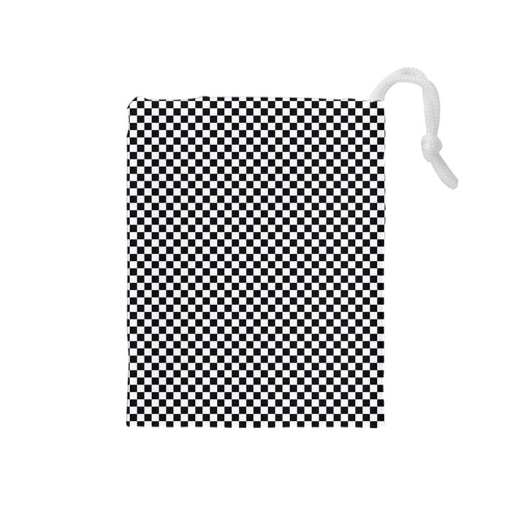Sports Racing Chess Squares Black White Drawstring Pouches (Medium)