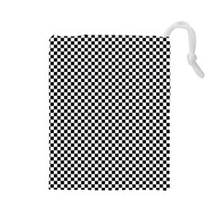 Sports Racing Chess Squares Black White Drawstring Pouches (Large)