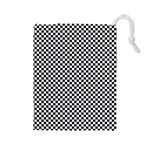 Sports Racing Chess Squares Black White Drawstring Pouches (Large)  Front