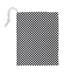 Sports Racing Chess Squares Black White Drawstring Pouches (Large)  Back