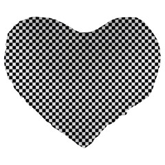 Sports Racing Chess Squares Black White Large 19  Premium Flano Heart Shape Cushions