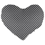 Sports Racing Chess Squares Black White Large 19  Premium Flano Heart Shape Cushions Front