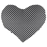 Sports Racing Chess Squares Black White Large 19  Premium Flano Heart Shape Cushions Back