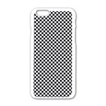 Sports Racing Chess Squares Black White Apple iPhone 6/6S White Enamel Case Front