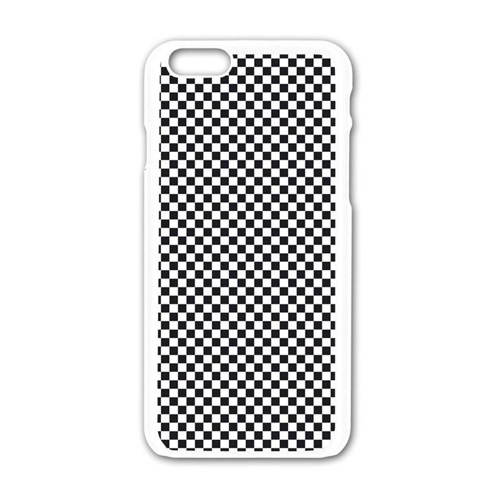 Sports Racing Chess Squares Black White Apple iPhone 6/6S White Enamel Case