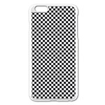 Sports Racing Chess Squares Black White Apple iPhone 6 Plus/6S Plus Enamel White Case Front