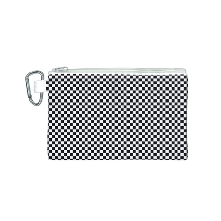 Sports Racing Chess Squares Black White Canvas Cosmetic Bag (S)