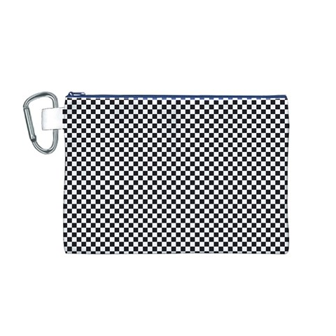 Sports Racing Chess Squares Black White Canvas Cosmetic Bag (M)