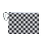 Sports Racing Chess Squares Black White Canvas Cosmetic Bag (M) Front
