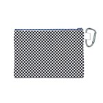 Sports Racing Chess Squares Black White Canvas Cosmetic Bag (M) Back