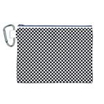 Sports Racing Chess Squares Black White Canvas Cosmetic Bag (L) Front