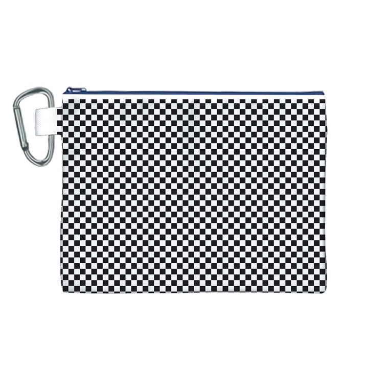 Sports Racing Chess Squares Black White Canvas Cosmetic Bag (L)