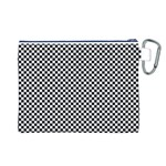 Sports Racing Chess Squares Black White Canvas Cosmetic Bag (L) Back