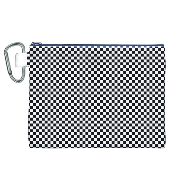 Sports Racing Chess Squares Black White Canvas Cosmetic Bag (XL)