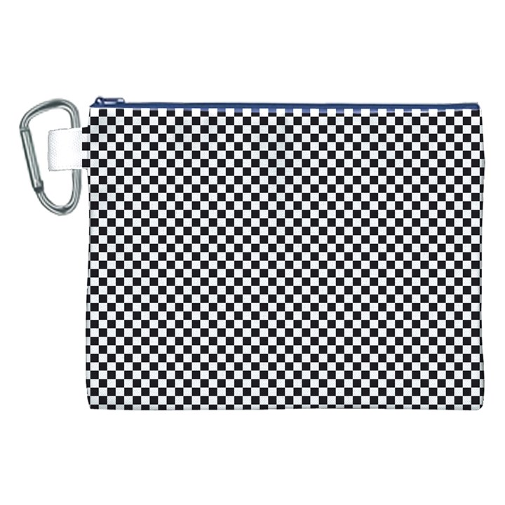 Sports Racing Chess Squares Black White Canvas Cosmetic Bag (XXL)