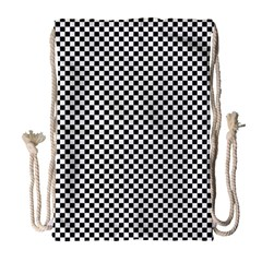 Sports Racing Chess Squares Black White Drawstring Bag (Large)