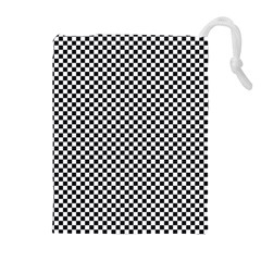 Sports Racing Chess Squares Black White Drawstring Pouches (extra Large)