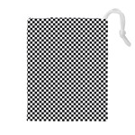 Sports Racing Chess Squares Black White Drawstring Pouches (Extra Large) Front