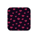 Pattern Of Vampire Mouths And Fangs Rubber Square Coaster (4 pack)  Front