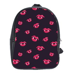 Pattern Of Vampire Mouths And Fangs School Bags(Large)