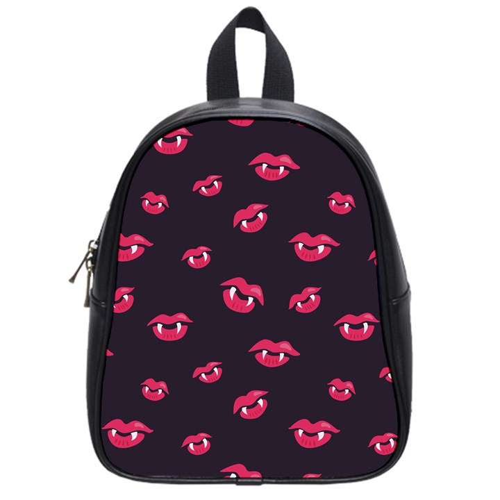 Pattern Of Vampire Mouths And Fangs School Bags (Small)