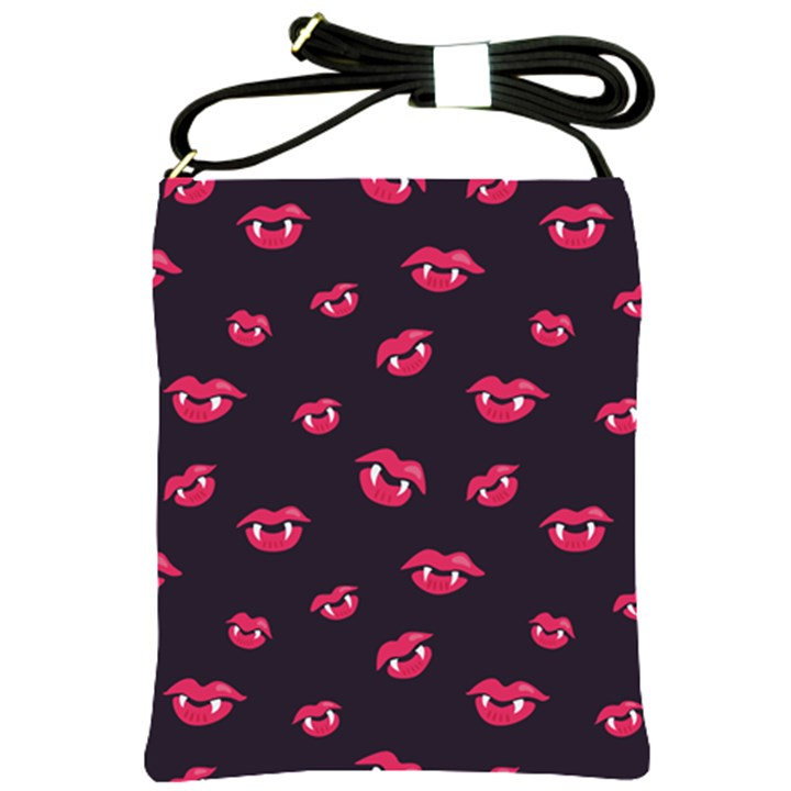Pattern Of Vampire Mouths And Fangs Shoulder Sling Bags