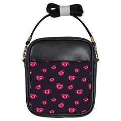 Pattern Of Vampire Mouths And Fangs Girls Sling Bags