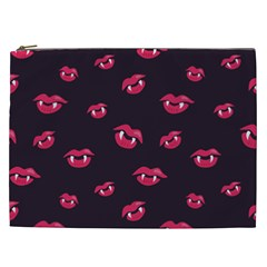 Pattern Of Vampire Mouths And Fangs Cosmetic Bag (XXL)