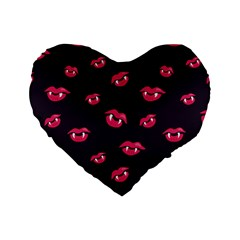 Pattern Of Vampire Mouths And Fangs Standard 16  Premium Heart Shape Cushions