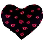 Pattern Of Vampire Mouths And Fangs Large 19  Premium Heart Shape Cushions Back
