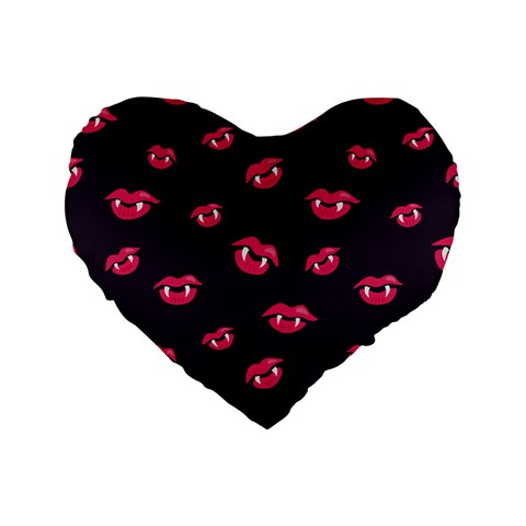Pattern Of Vampire Mouths And Fangs Standard 16  Premium Flano Heart Shape Cushions