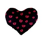Pattern Of Vampire Mouths And Fangs Standard 16  Premium Flano Heart Shape Cushions Back