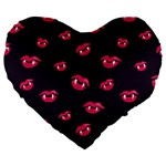 Pattern Of Vampire Mouths And Fangs Large 19  Premium Flano Heart Shape Cushions Front