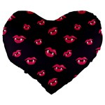 Pattern Of Vampire Mouths And Fangs Large 19  Premium Flano Heart Shape Cushions Back