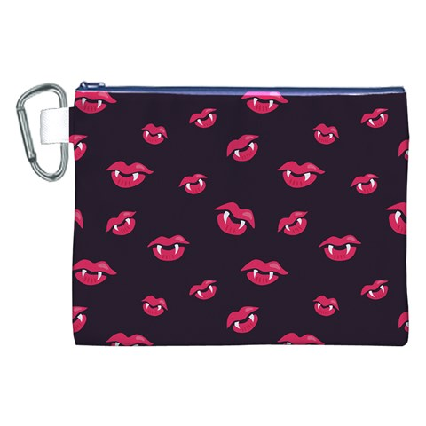 Pattern Of Vampire Mouths And Fangs Canvas Cosmetic Bag (XXL)
