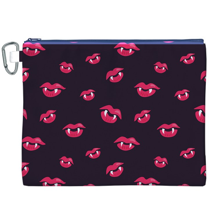 Pattern Of Vampire Mouths And Fangs Canvas Cosmetic Bag (XXXL)