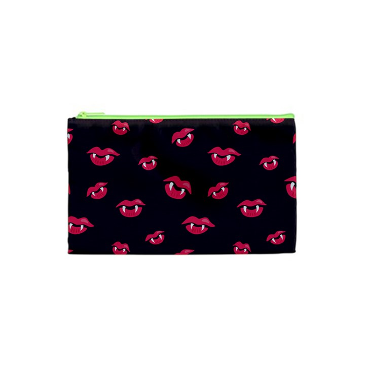 Pattern Of Vampire Mouths And Fangs Cosmetic Bag (XS)