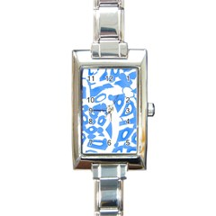 Blue Summer Design Rectangle Italian Charm Watch