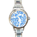 Blue summer design Round Italian Charm Watch Front