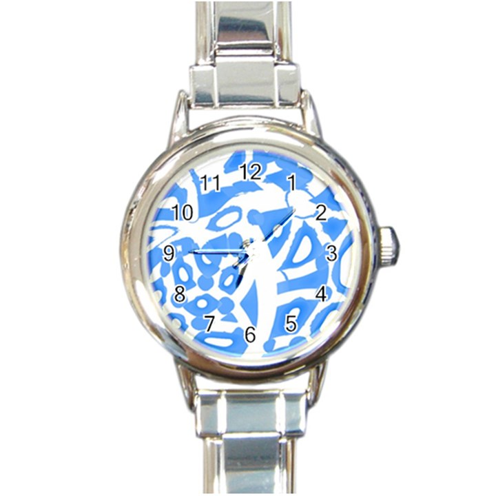 Blue summer design Round Italian Charm Watch