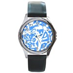 Blue summer design Round Metal Watch Front