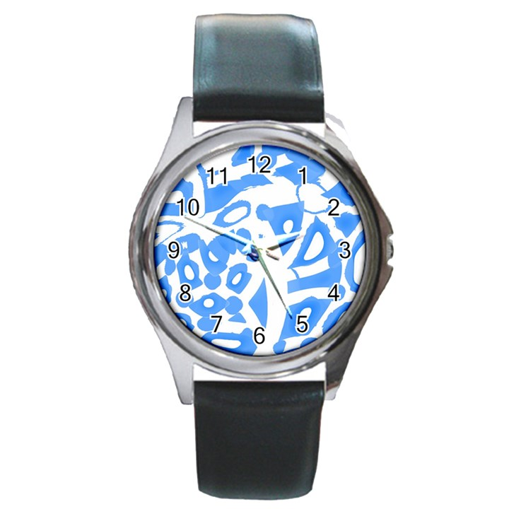 Blue summer design Round Metal Watch