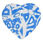 Blue summer design Ornament (Heart)  Front