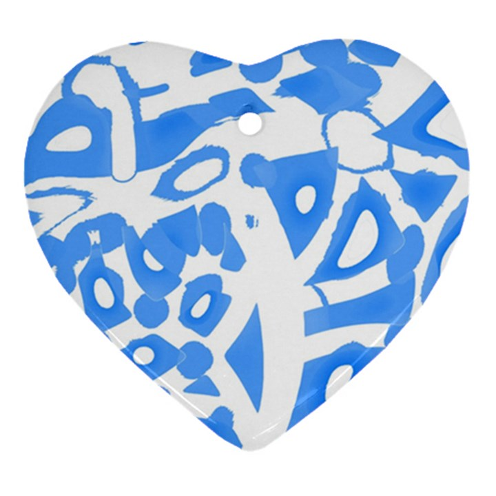 Blue summer design Ornament (Heart)