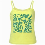 Blue summer design Yellow Spaghetti Tank Front