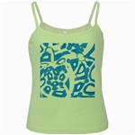 Blue summer design Green Spaghetti Tank Front
