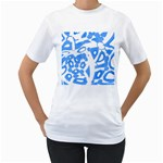 Blue summer design Women s T-Shirt (White) (Two Sided) Front