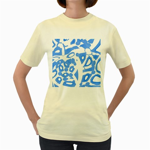 Blue summer design Women s Yellow T-Shirt
